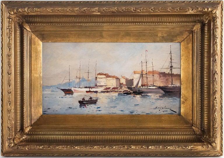 Eugène Galien-Laloue, Eugene Galiany oil on panel, navy scene & sailboats, circa 1880-1900.  A lovely, decorative and rare oil on panel depicting a Britany navy-scenes with sailboats, sign on a lower left by Eugene Galiany, pseudonym of the famous