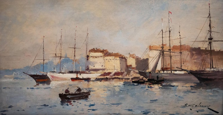 French Galien-Laloue, Eugene Galiany Oil on Panel, Navy Scene & Sailboats, circa 1880 For Sale