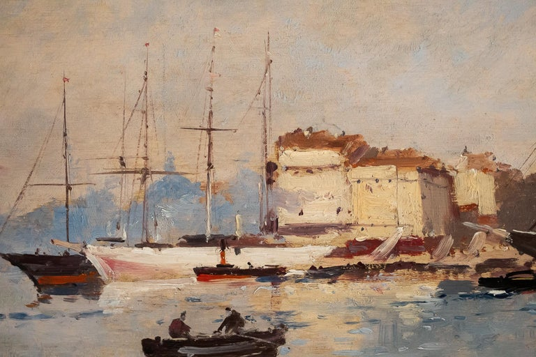 Painted Galien-Laloue, Eugene Galiany Oil on Panel, Navy Scene & Sailboats, circa 1880 For Sale