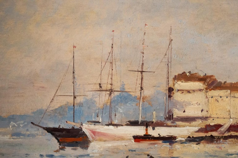 Galien-Laloue, Eugene Galiany Oil on Panel, Navy Scene & Sailboats, circa 1880 In Good Condition For Sale In Saint Ouen, FR