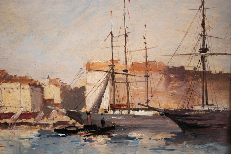 19th Century Galien-Laloue - Eugene Galiany Oil on Panel, Navy scene & Sailboats Circa 1880 For Sale