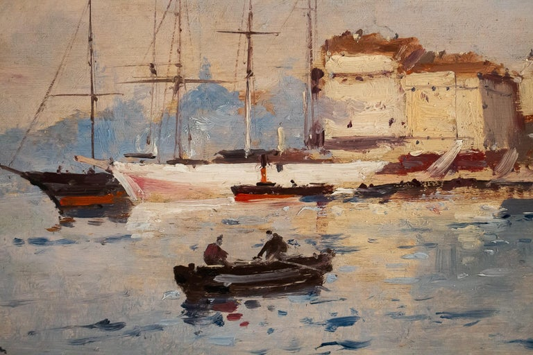 Wood Galien-Laloue - Eugene Galiany Oil on Panel, Navy scene & Sailboats Circa 1880 For Sale