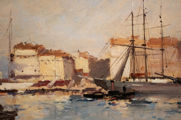 Galien-Laloue - Eugene Galiany Oil on Panel, Navy scene & Sailboats Circa 1880 For Sale 1