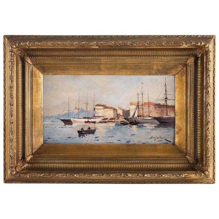 Galien-Laloue, Eugene Galiany Oil on Panel, Navy Scene & Sailboats, circa 1880 For Sale