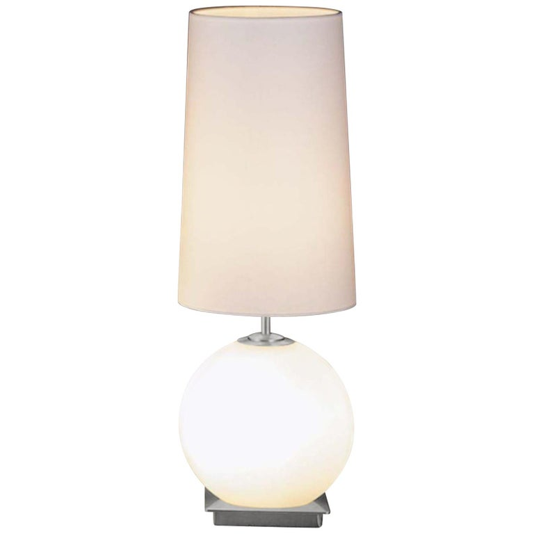 Galileo Frosted Glass and Satin Nickel Table Lamp by Holtkoetter For Sale