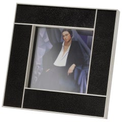 Galileo Art Deco Style Black Shagreen and Bone Picture Frame by Giordano Viganò