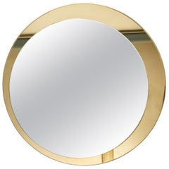 Galimberti Midcentury Italian Round Mirror with Double Brassed Gold Frame, 1975