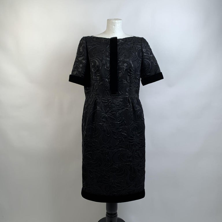 Galitzine Vintage Black Jacquard Sheath Short Sleeve Dress In Excellent Condition For Sale In Rome, Rome