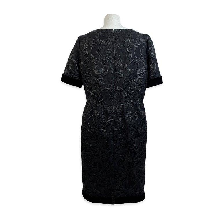 Women's Galitzine Vintage Black Jacquard Sheath Short Sleeve Dress For Sale