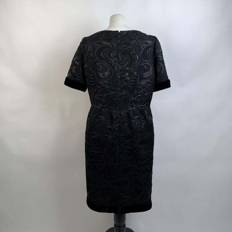 Galitzine Vintage Black Jacquard Sheath Short Sleeve Dress For Sale 1