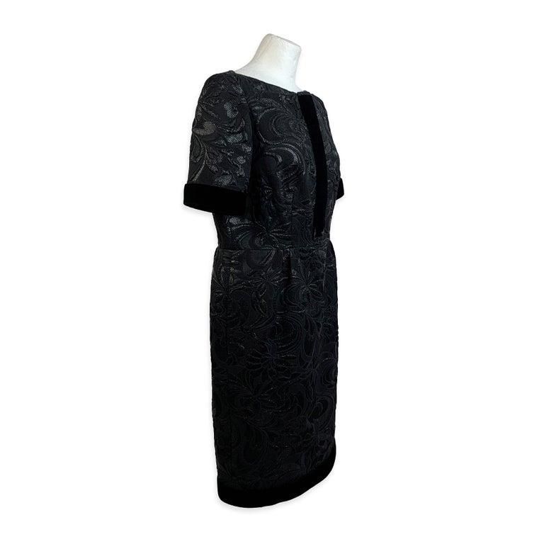 Galitzine Vintage Black Jacquard Sheath Short Sleeve Dress For Sale 2