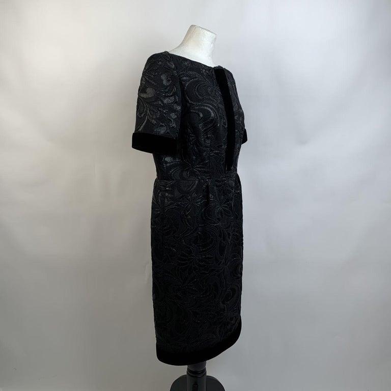 Galitzine Vintage Black Jacquard Sheath Short Sleeve Dress For Sale 3