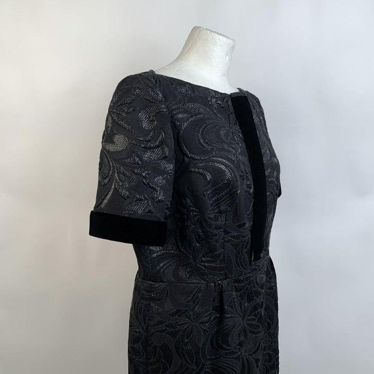 Galitzine Vintage Black Jacquard Sheath Short Sleeve Dress For Sale 4
