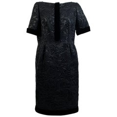 Galitzine Vintage Black Jacquard Sheath Short Sleeve Dress