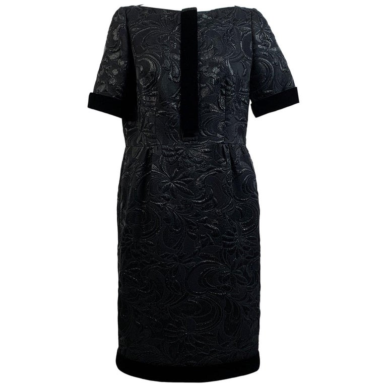 Galitzine Vintage Black Jacquard Sheath Short Sleeve Dress For Sale