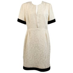 Galitzine Vintage White Jacquard Sheath Short Sleeve Dress