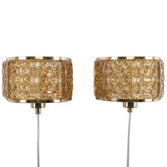 Gallalampet, Pair of Sconces by Vitrika, 1970s, Brass & Golden Glass Wall Lamps