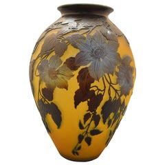 Gallè Art Deco Blue and Yellow Glass Clematis French Vase