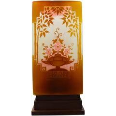Gallè Art Deco Overlay Glass Japanese Style Decoration French Vase