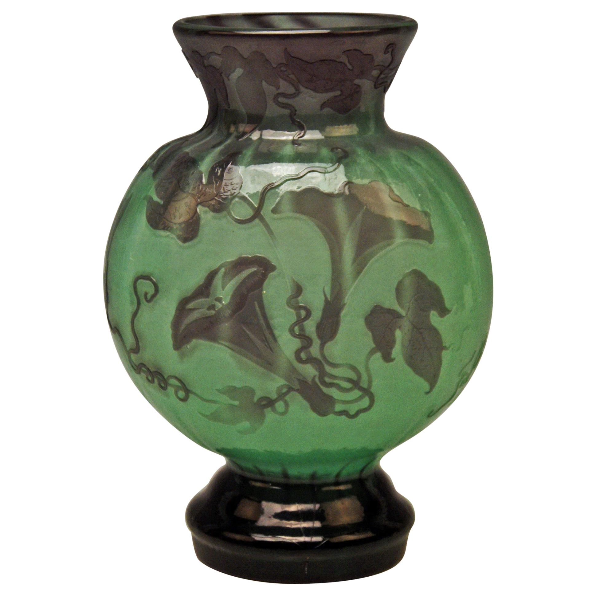 Gallé Art Nouveau Early Vase Galle Fire Polished France Nancy Made, circa 1890