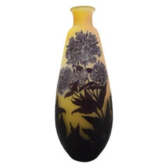 Gallè Art Nouveau Overlay Acid Etched Glass Oleander Vase