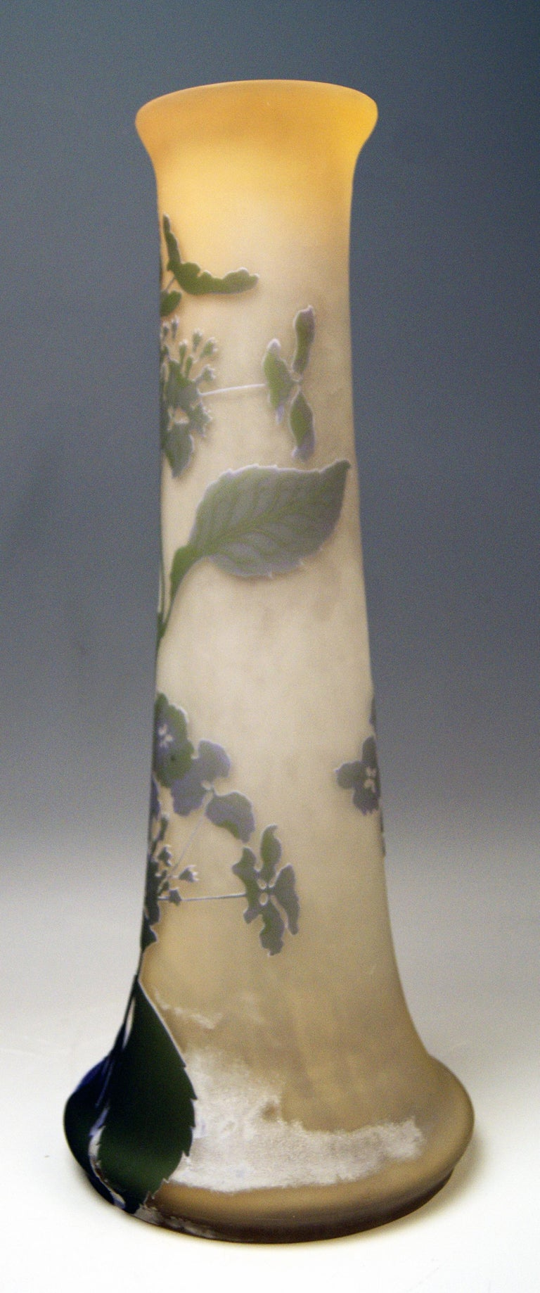 Art Nouveau Tall Stalky Vase by Gallé  Manufactory:  Émile Gallé / France, Nancy, Lorraine made circa 1904-1906  Technique of manufacture: Cameo glass and etched (built up with different layers and cut back with acid to reveal beautiful