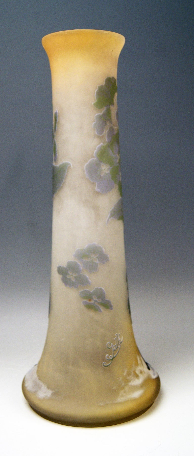 French Gallé Art Nouveau Vase Galle Mallows Flowers France Nancy Height 18.30in c.1904 For Sale