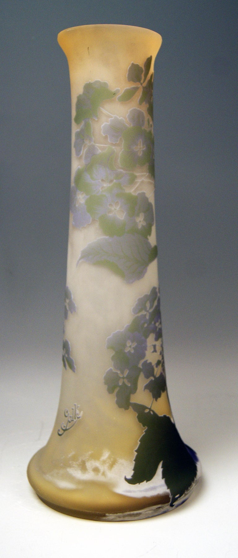 Etched Gallé Art Nouveau Vase Galle Mallows Flowers France Nancy Height 18.30in c.1904 For Sale