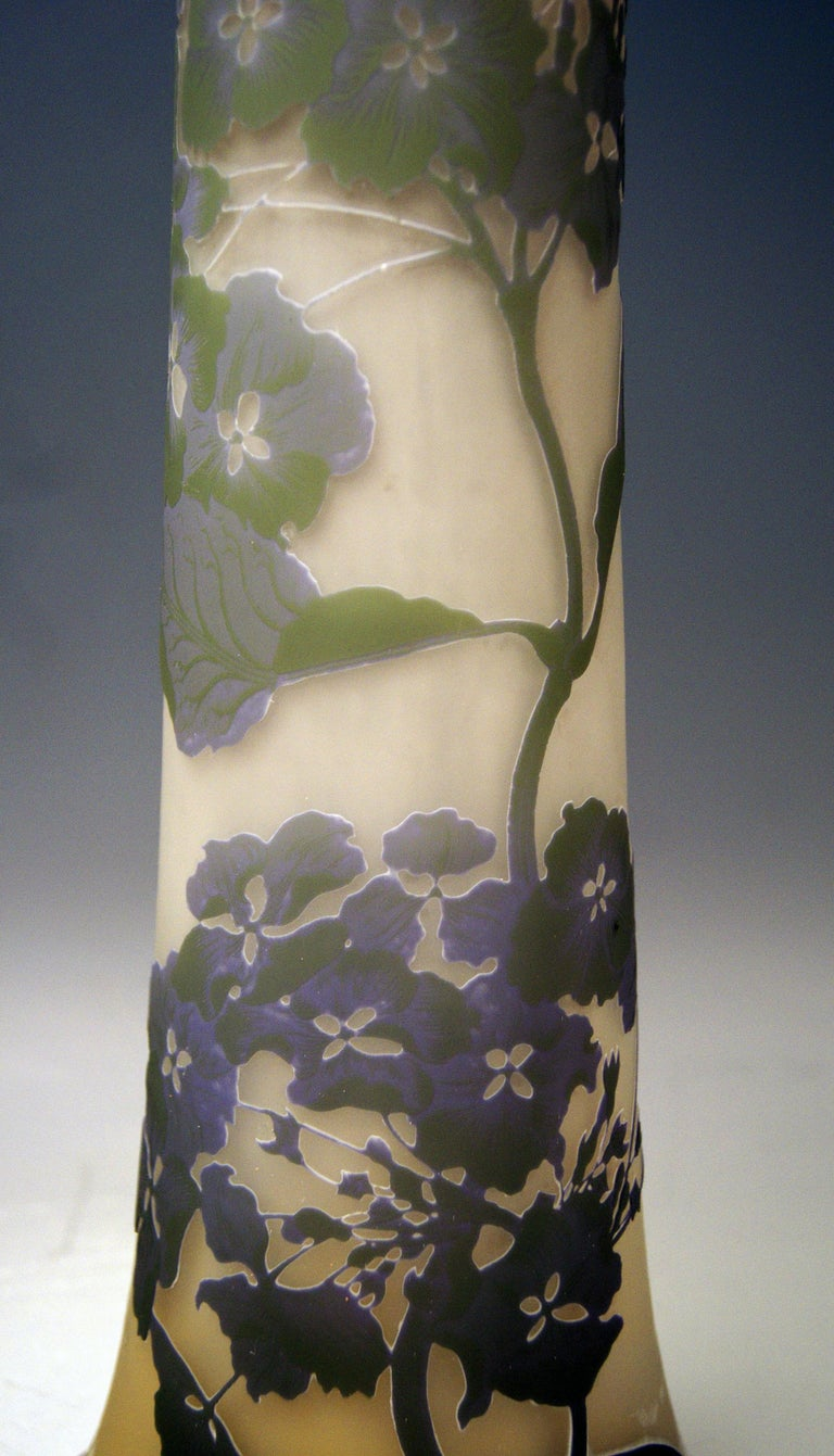 Early 20th Century Gallé Art Nouveau Vase Galle Mallows Flowers France Nancy Height 18.30in c.1904 For Sale