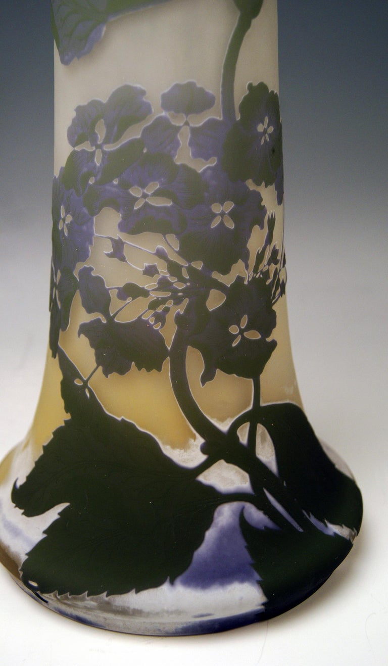 Glass Gallé Art Nouveau Vase Galle Mallows Flowers France Nancy Height 18.30in c.1904 For Sale