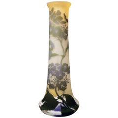 Gallé Art Nouveau Vase Galle Mallows Flowers France Nancy Height 18.30in c.1904