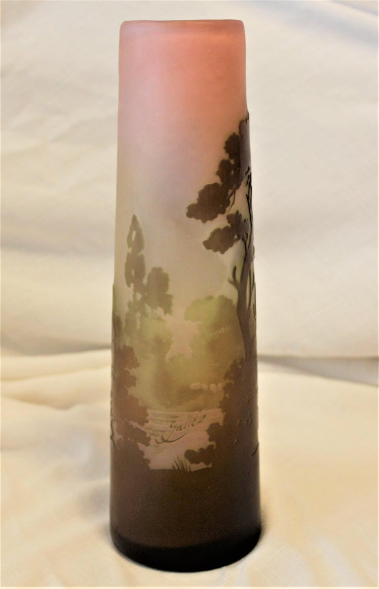 Galle Cameo Art Glass Landscape Vase In Good Condition For Sale In Hamilton, Ontario