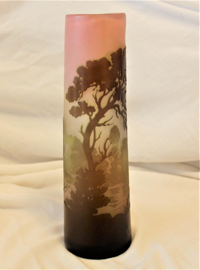 20th Century Galle Cameo Art Glass Landscape Vase For Sale