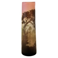 Galle Cameo Art Glass Landscape Vase