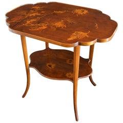 Gallè Early Art Nouveau Inlaid Fine Woods Table