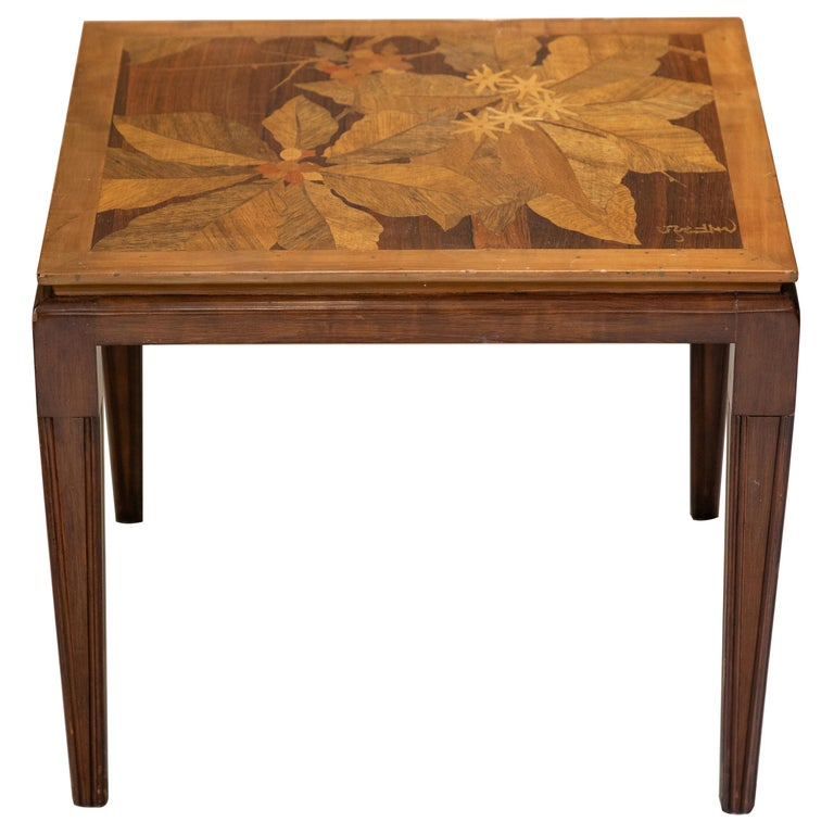 Gallé Inlaid Early 20th Century Art Nouveau Side Table with Floral Motifs For Sale