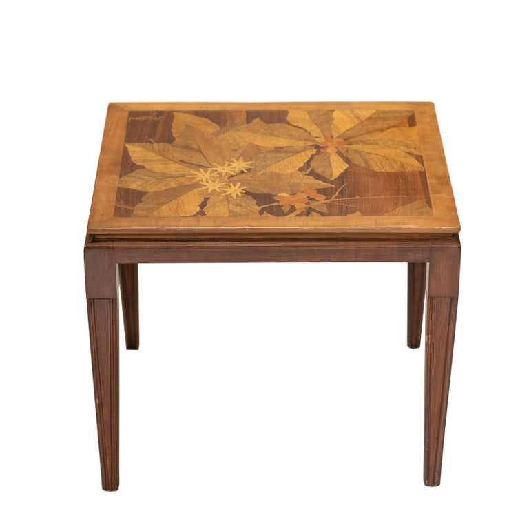 Inlay Gallé Inlaid Early 20th Century Art Nouveau Side Table with Floral Motifs For Sale