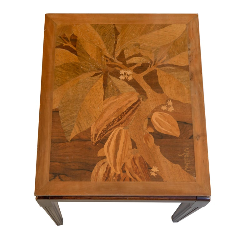 Fruitwood Gallé Inlaid Early 20th Century Art Nouveau Side Table with Floral Motifs For Sale