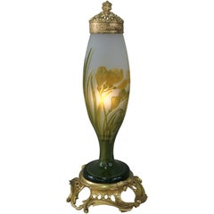 Galle Style Cameo Glass Art Nouveau Table Lamp