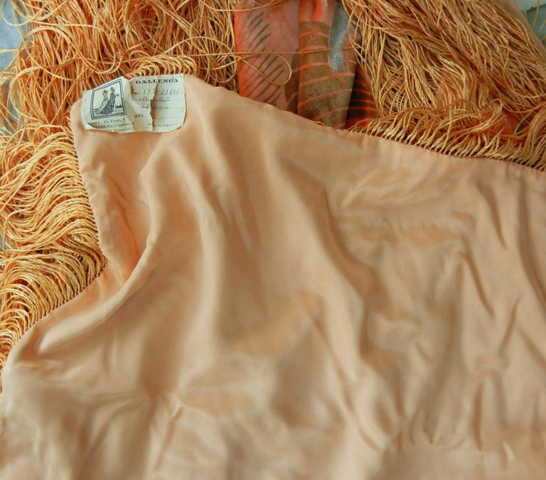 Gallenga Estate Apricot Panne Velvet Fringe Shawl fr Gallenga Estate  Rare For Sale 2