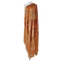 Gallenga Estate Apricot Panne Velvet Fringe Shawl fr Gallenga Estate  Rare