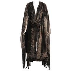 Gallenga Stenciled Silk Velvet & Silk Chiffon Coat ex Wardrobe of a Princess
