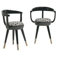 Galleon Chair in Matt Black Lacquered in Black & White Fabric