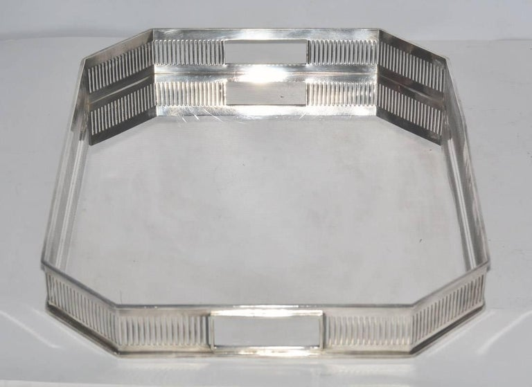 European Gallery Silver Plate Tea Serving Tray For Sale