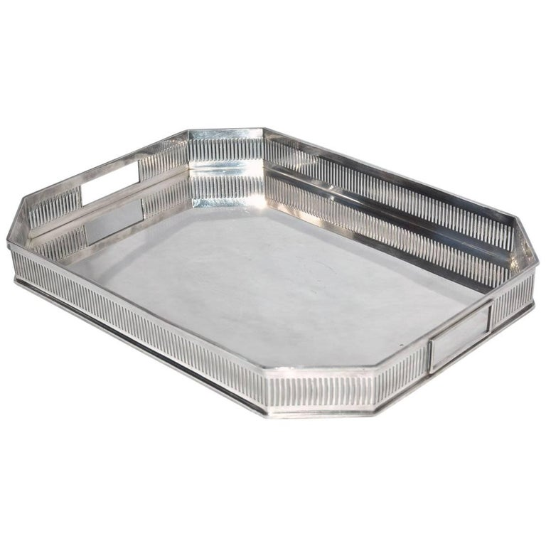 Gallery Silver Plate Tea Serving Tray For Sale