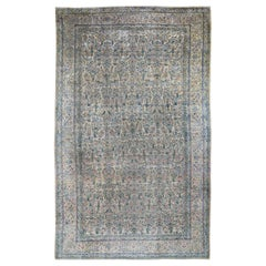 Gallery Size Antique Persian Kerman Even Wear Hand Knotted Oriental Rug
