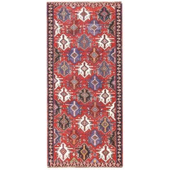 Gallery Size Antique Tribal Caucasian Kuba Kilim Rug