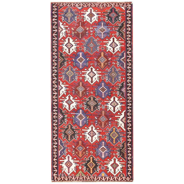 Caucasian Kilim Rug: Gallery Size Antique Tribal Caucasian Kuba Kilim Rug For