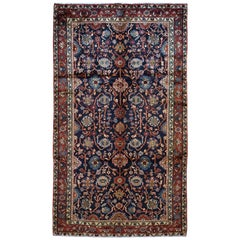 Gallery Size Blue Vintage Persian Hamadan Hand Knotted Pure Wool Oriental Rug