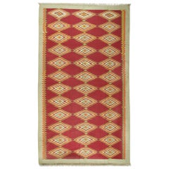 Gallery Size Flat-Weave Cotton Dhurrie, circa 1920